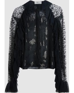 Sequinned Fil Coupé And Lace Blouse