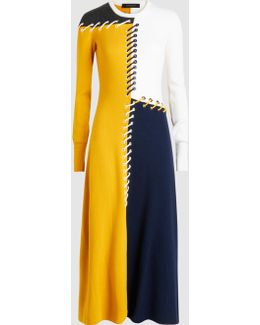 Lace-up Colour-block Wool And Cashmere-blend Midi Dress