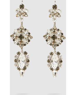 Silver Glass Crystal Earrings