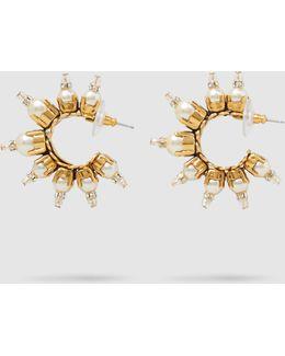 Gold-plated Pearl Embellished Hoop Earrings