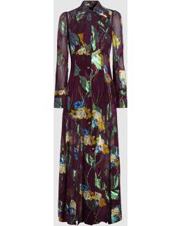 Blithe Spirit Silk-blend Jacquard Maxi Dress