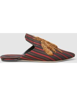 Ragno Striped Gold Flat Slippers