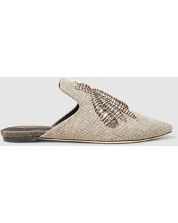 Ragno Silver Flat Slippers