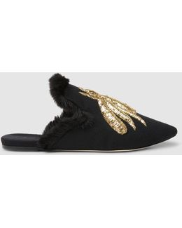 Ragno Fur-lined Velvet Flat Slippers