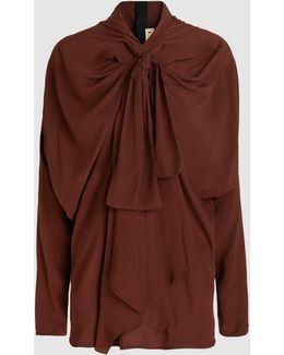 Gathered-neck Crepe Long-sleeved Blouse