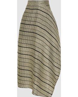 Haxby Striped Rippled Lurex Midi Skirt