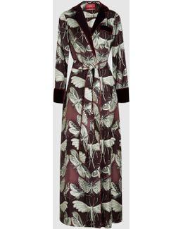 Roda Velvet-trimmed Printed Silk Robe