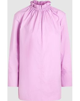Poplin Blouse With Ruffle-neck Detail