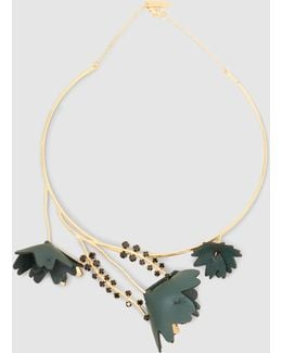 Gold Tone Collar Necklace With Crystal And Leather Flower Detail