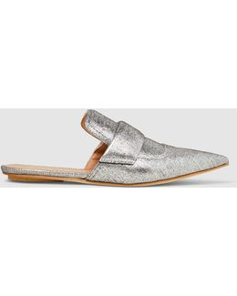Metallic Pointed-toe Slippers