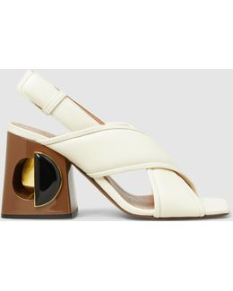 Cutout-heel Leather Sandals
