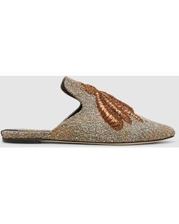 Ragno Embroidered Metallic Bouclé Slippers