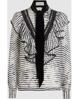 Phillipa Scarf Detail Striped Blouse