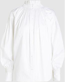 Ruffled Check Cotton Blouse