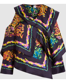 Printed Silk-twill Scarf Blouse