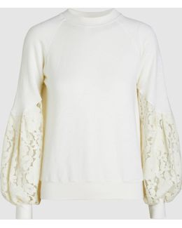 Crew-neck Lace Sleeve Sweatshirt