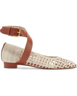 Cutout Two-tone Leather Point-toe Flats