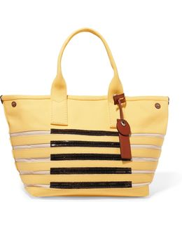 Embellished Striped Cotton Tote