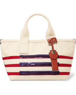Small Embellished Striped Cotton Tote