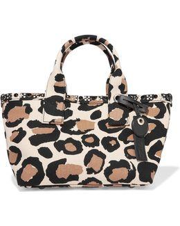Small Leopard-print Cotton-canvas Tote