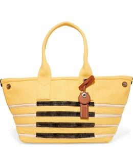 Sequin-embellished Paneled Cotton-canvas Tote