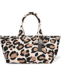 Leopard-print Cotton-canvas Tote