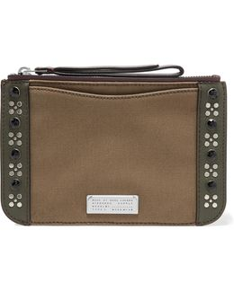 Roxy Embellished Leather-trimmed Canvas Pouch