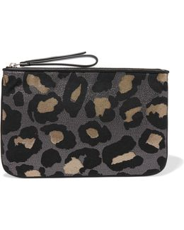 The Roxy 28 Metallic Leopard-print Canvas Clutch