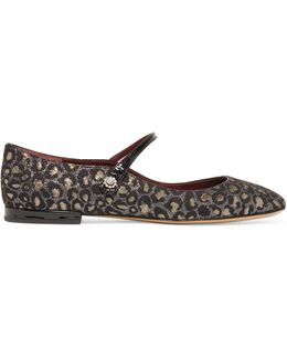 Brooke Embellished Metallic Jacquard Mary Jane Ballet Flats
