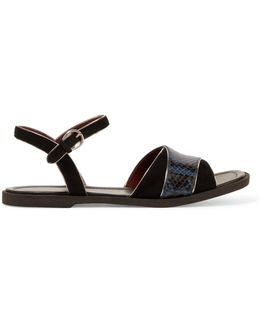 Jodie Metallic Leather-trimmed Suede And Python-effect Leather Sandals