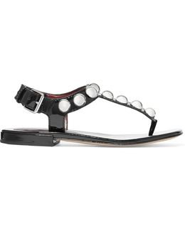 Liv Embellished Patent Leather Sandals