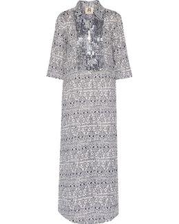 Long Tux Sequin-embellished Printed Cotton-broadcloth Kaftan