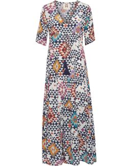 Kalila Gathered Printed Silk Crepe De Chine Maxi Dress