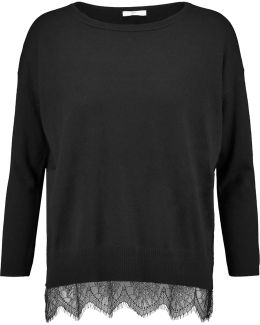 Hilano Lace-trimmed Knitted Sweater