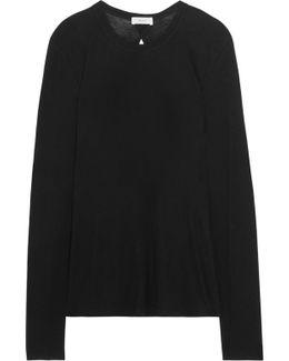 Natie Cutout Slub Cotton And Cashmere-blend Top