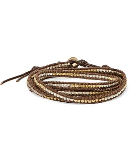 Leather And Cord Gold-plated Beaded Wrap Bracelet