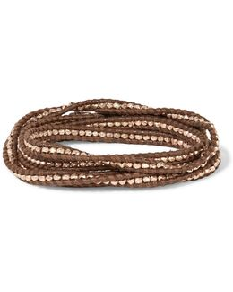 18-karat Rose Gold-plated Beaded Leather Bracelet