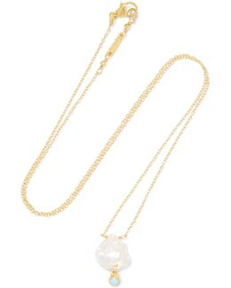 18-karat Gold-plated Sterling Silver, Stone And Mother-of-pearl Necklace