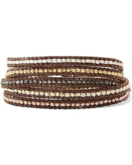 Gold-plated Woven Beaded Bracelet