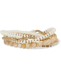 Gold-tone, Stone And Bead Bracelet