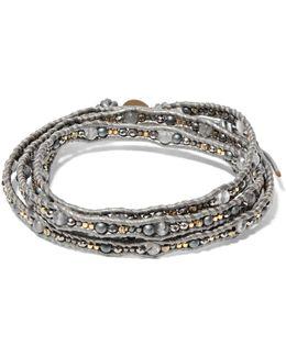 Gunmetal-tone, Cord, Stone And Bead Bracelet