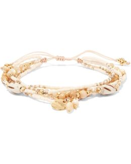 Gold-tone, Cord, Stone And Bead Bracelet