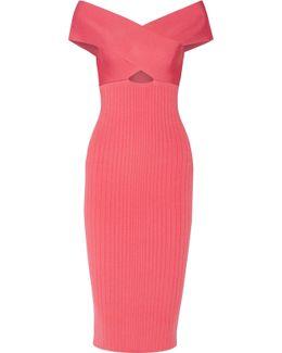 Off-the-shoulder Cutout Stretch-knit Midi Dress