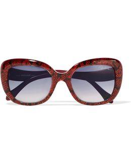 D-frame Metallic Snake-print Acetate Sunglasses