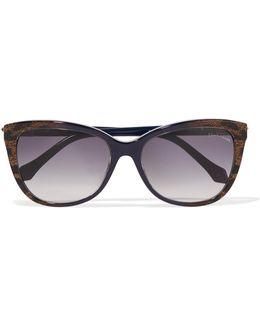 Animal-print Square-frame Acetate Sunglasses