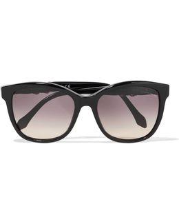 Crystal-embellished Square-frame Acetate Sunglasses