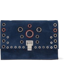 Small Lunch Bag Eyelet-embellished Suede And Leather Clutch