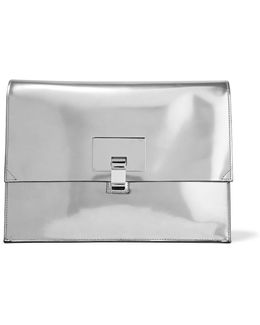 Large Lunch Bag Mirrored Leather Clutch