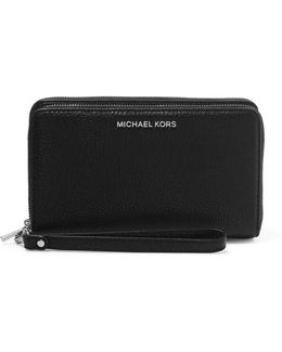 Adele Textured-leather Continental Wallet