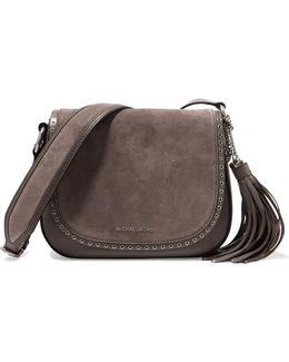 Brooklyn Embellished Suede And Textured-leather Shoulder Bag